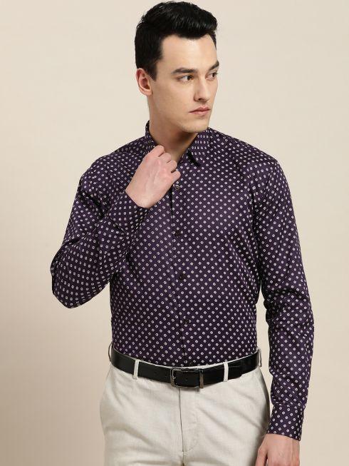 Sojanya (Since 1958), Mens Cotton Dark Purple & OffWhite Printed Formal Shirt