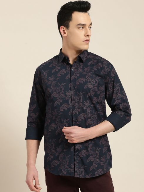 Sojanya (Since 1958), Mens Cotton Navy Blue & Peach Printed Casual Shirt