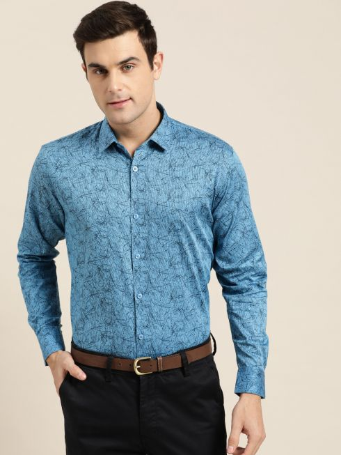 Sojanya (Since 1958), Mens Cotton Cobalt Blue & Black Printed Formal Shirt