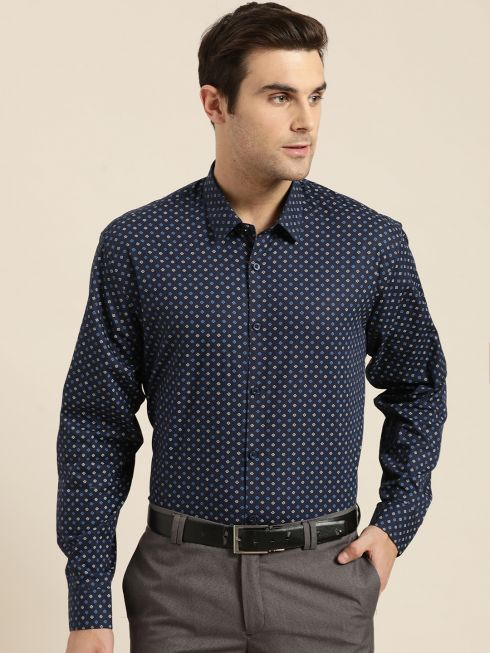 Sojanya (Since 1958), Mens Cotton Navy Blue & Multi Printed Formal Shirt