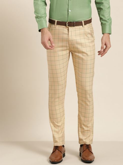 Sojanya (Since 1958) Men's Cotton Blend Beige & Green Checked Formal Trousers