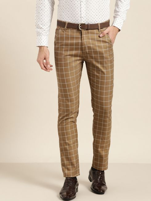 Sojanya (Since 1958) Men's Cotton Blend Khaki & OffWhite Checked Formal Trousers