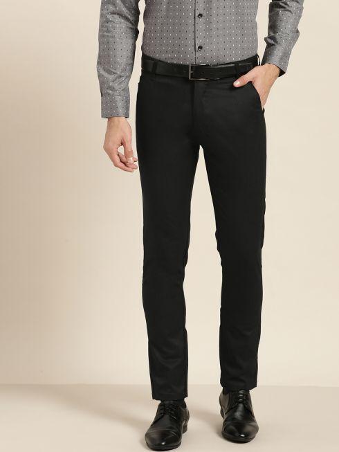 Sojanya (Since 1958) Men's Cotton Blend Black Solid Formal Trousers