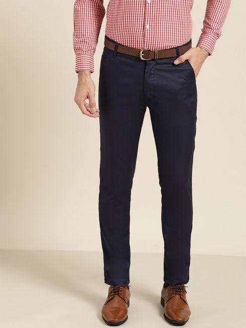Sojanya (Since 1958) Men's Cotton Blend Navy Blue Solid Formal Trousers