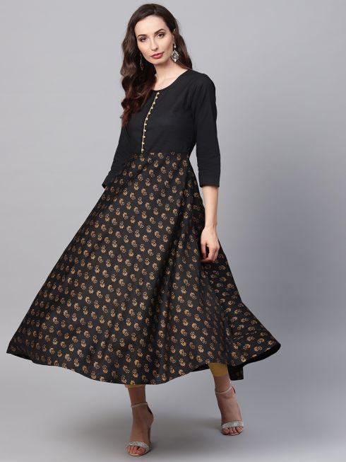sojanya (Since 1958), Women's Black Foil Print Anarkali Kurta