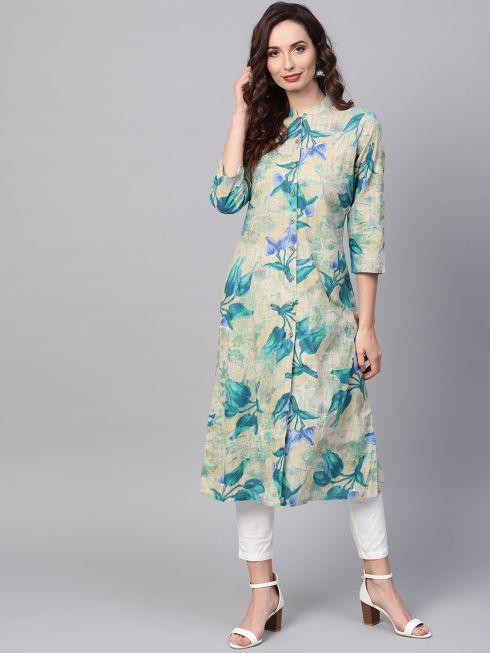 Sojanya (Since 1958), Women's Blue Printed A-Line Kurta