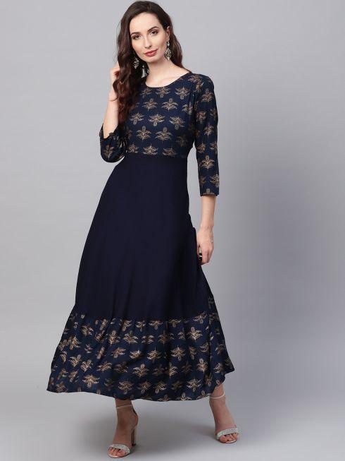 Sojanya (Since 1958), Women's Navy Blue Foil Print Anarkali Kurta