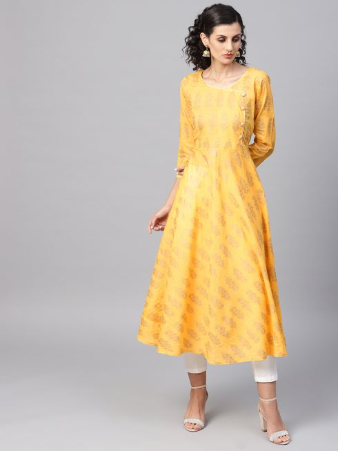 Sojanya (Since 1958), Women's Yellow Foil Print Kurta With Off-White Trousers