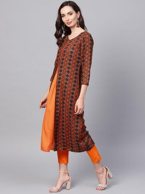 Sojanya (Since 1958), Women's Orange Printed Kurta With Orange Trousers
