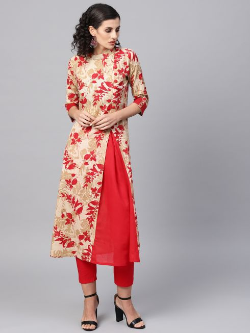Sojanya (Since 1958), Women's Red Printed Kurta With Red Trousers