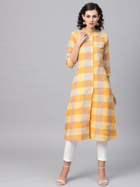 Sojanya (Since 1958), Women's Yellow Printed Kurta With Off-White Trousers