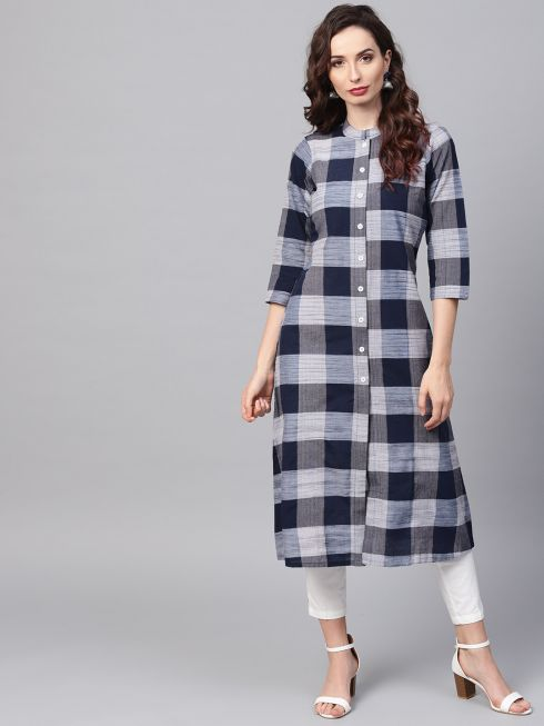 Sojanya (Since 1958), Women's Navy Blue Printed Kurta With Off-White Trousers