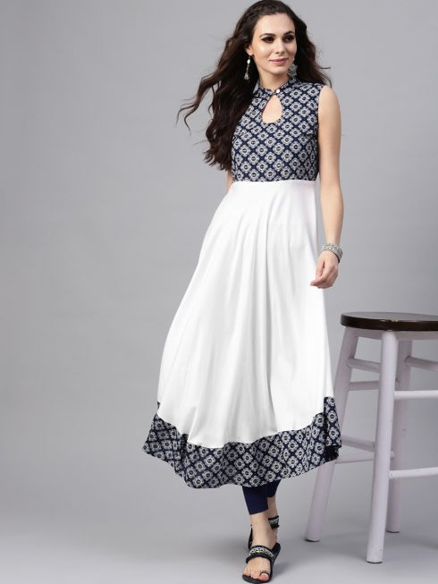 Sojanya (Since 1958), Women's Navy Blue Printed Anarkali Kurta