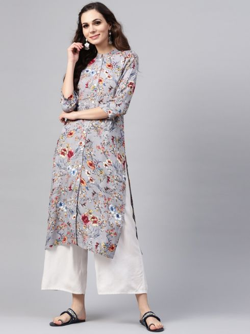 sojanya (Since 1958), Women's Grey Printed A-Line Kurta