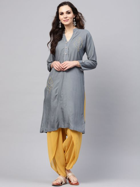 Sojanya (Since 1958), Women's Grey Straight Kurta