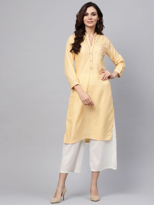 Sojanya (Since 1958), Women's Light Yellow Straight Kurta