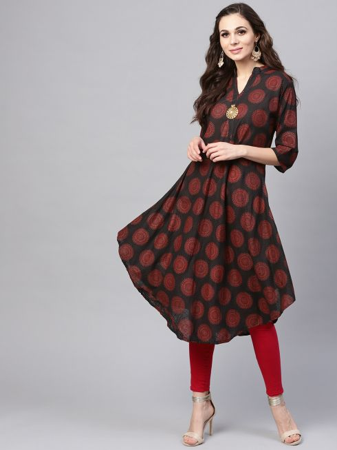 Sojanya (Since 1958), Women's Black & Red Printed A-Line Kurta