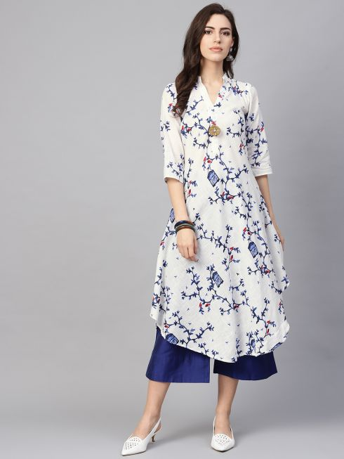 Sojanya (Since 1958), Women's White & Royal Blue Printed A-Line Kurta