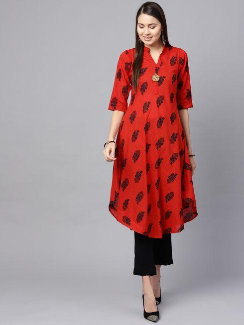 Sojanya (Since 1958), Women's Red & Black Printed A-Line Kurta