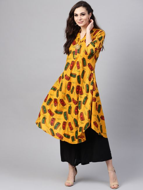 Sojanya (Since 1958), Women's Yellow & Multi Printed A-Line Kurta