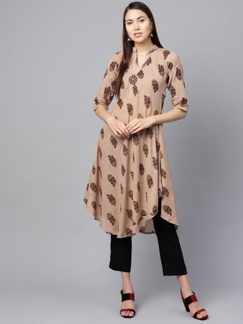 Sojanya (Since 1958), Women's Fawn & Red Printed A-Line Kurta