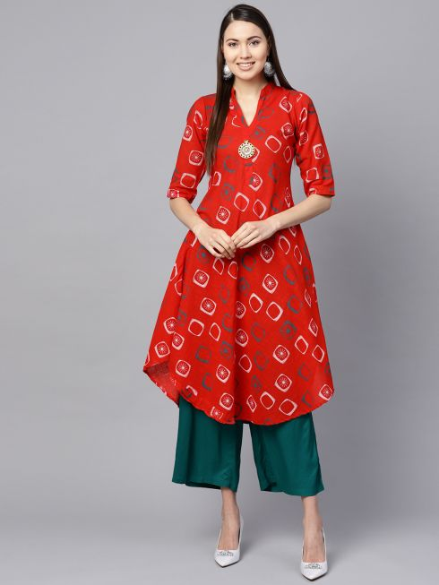 Sojanya (Since 1958), Women's Red & Dark Green Geometric Printed A-Line Kurta
