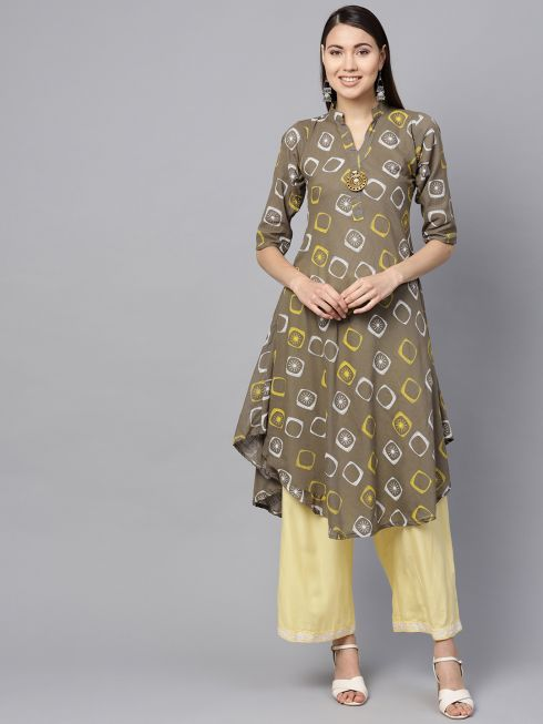 Sojanya (Since 1958), Women's Grey & Pista Geometric Printed A-Line Kurta