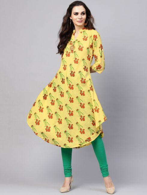 Sojanya (Since 1958), Women's Lemon Yellow & Red Printed A-Line Kurta