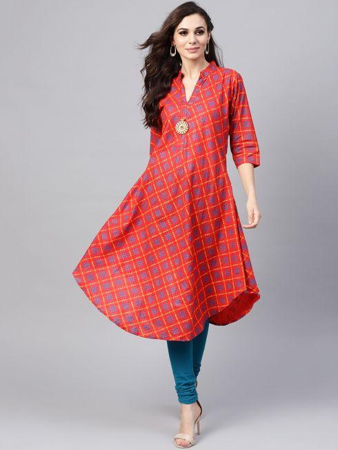 Sojanya (Since 1958), Women's Red & Yellow Printed A-Line Kurta