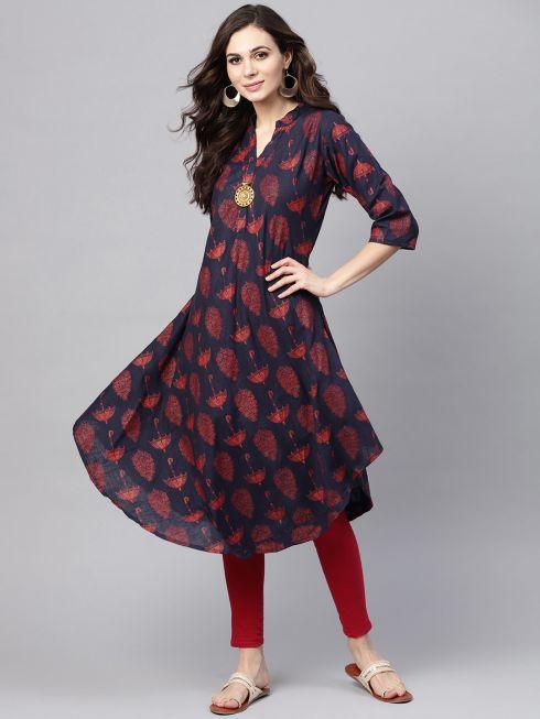 Sojanya (Since 1958), Women's Navy Blue & Red Printed A-Line Kurta