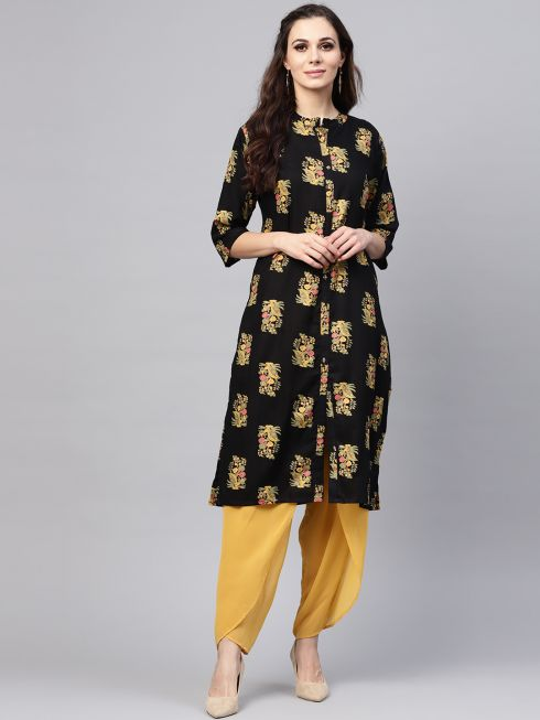 Sojanya (Since 1958), Women's Black & Mustard Printed A-Line Kurta