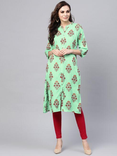 Sojanya (Since 1958), Women's Light Green & Maroon Printed A-Line Kurta