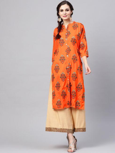 Sojanya (Since 1958), Women's Orange & Green Printed A-Line Kurta