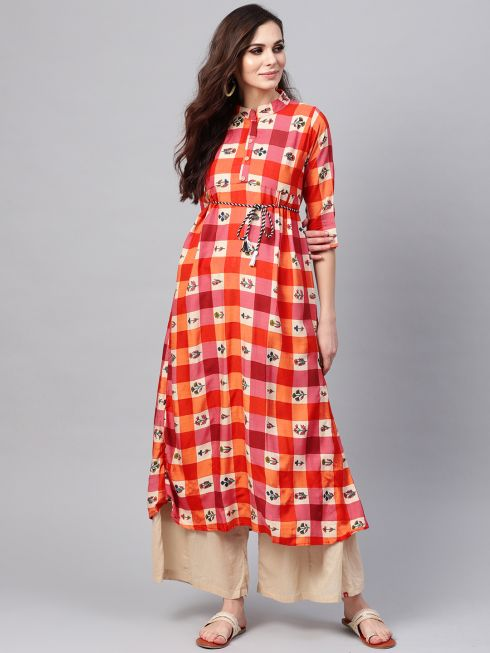 Sojanya (Since 1958), Women's Red & Beige Printed A-Line Kurta