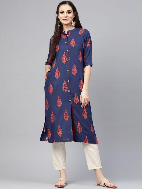 Sojanya (Since 1958), Women's Navy Blue Printed Straight Kurta