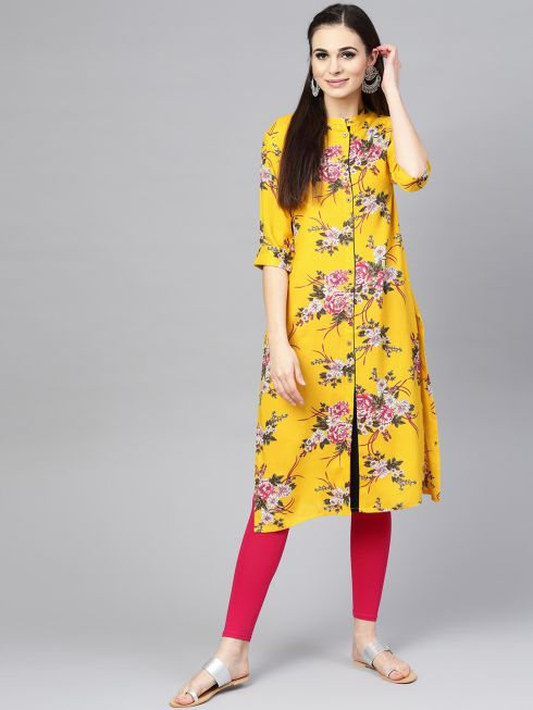 Sojanya (Since 1958), Women's Yellow Printed Straight Kurta
