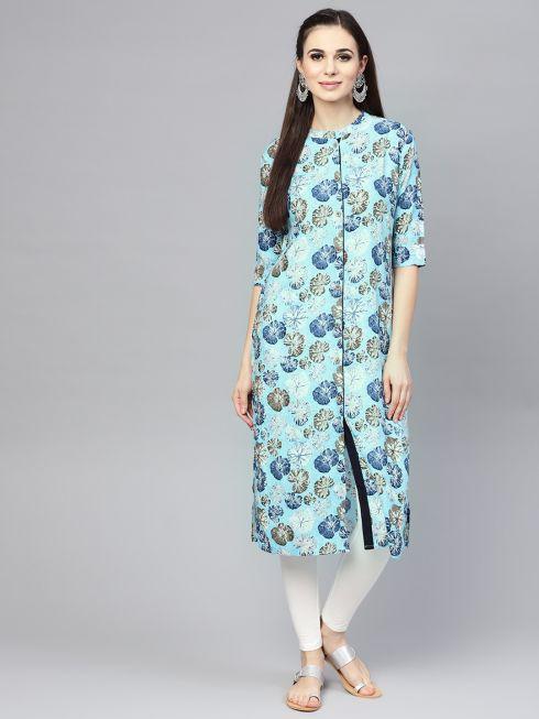 Sojanya (Since 1958), Women's Sky Blue Printed Straight Kurta
