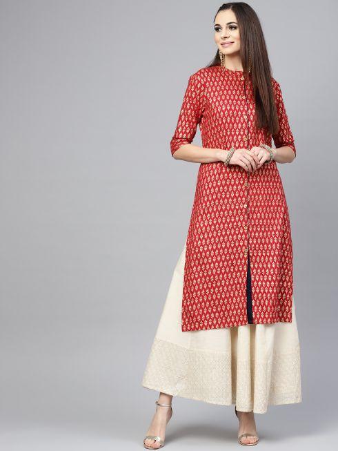 Sojanya (Since 1958), Women's Maroon Foil Print Straight Kurta
