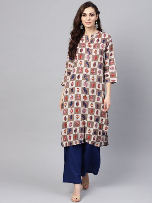 Sojanya (Since 1958), Women's Brown Printed A-Line Kurta