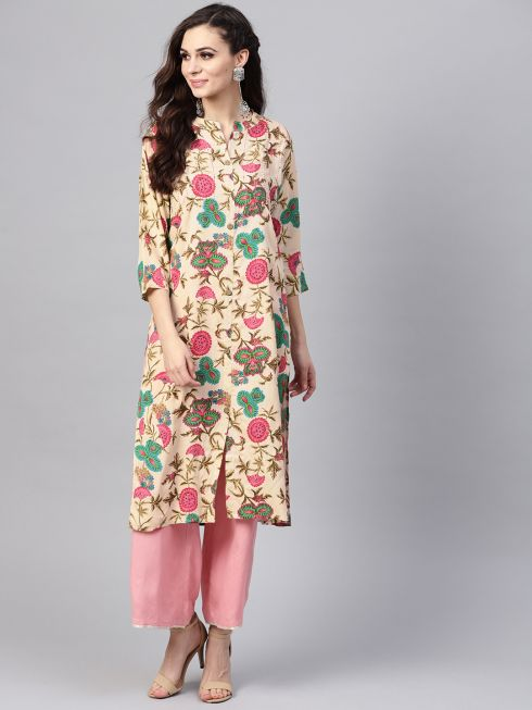 Sojanya (Since 1958), Women's Beige Floral Printed A-Line Kurta
