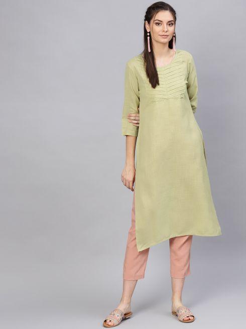 Sojanya (Since 1958), Women's Viscose Pista Green Solid Straight Kurta