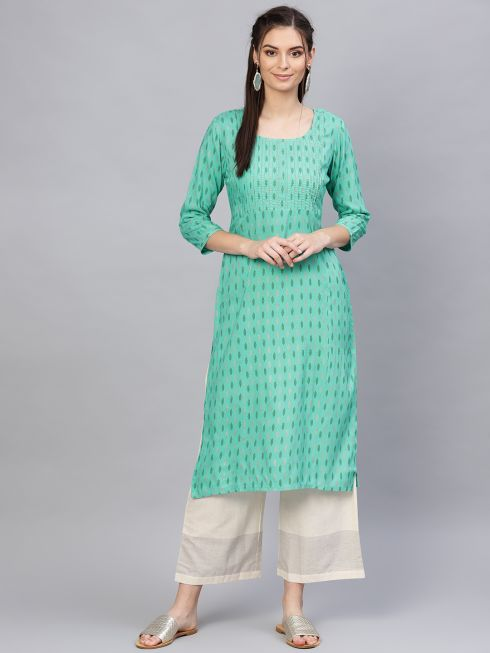 Sojanya (Since 1958), Women's Rayon Sea Green & Gold Foil Print Straight Kurta
