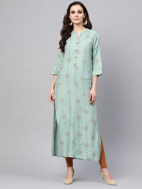 Sojanya (Since 1958), Women's Pista Green Dot Printed A-Line Kurta