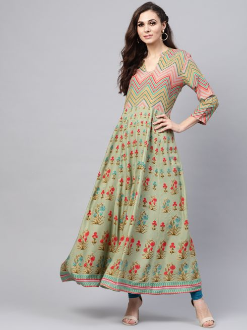 Sojanya (Since 1958), Women's Pista Green Printed Anarkali Kurta