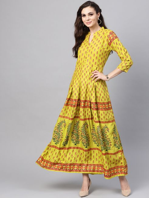 Sojanya (Since 1958), Women's Lime Green & Maroon Printed Anarkali Kurta