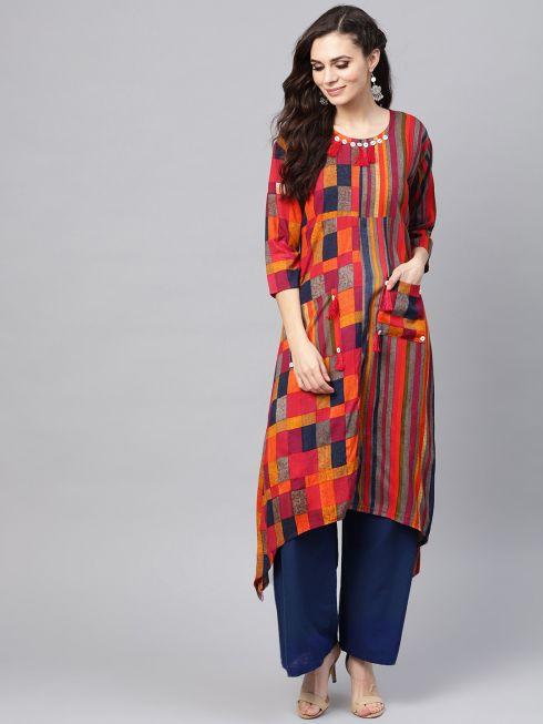 Sojanya (Since 1958), Women's Red Printed Asymmetric Kurta