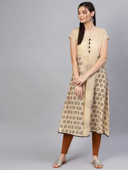 Sojanya (Since 1958), Women's Cotton Beige & Dark Brown Printed Anarkali Kurta