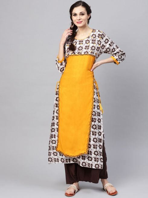 Sojanya (Since 1958), Women's Yellow Printed Layered A-Line Kurta