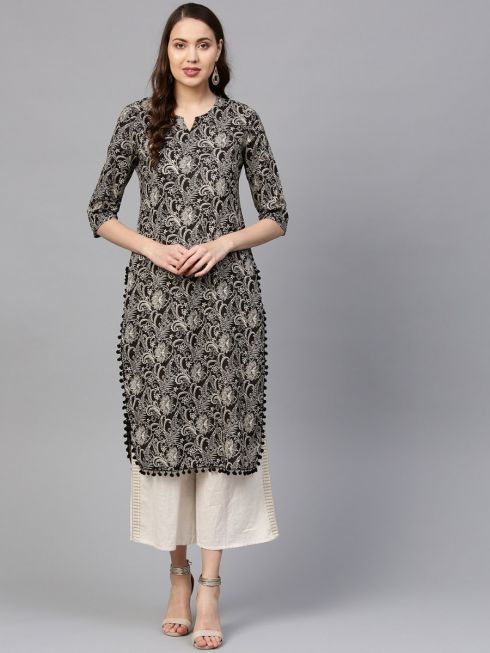 Sojanya (Since 1958) Women's Cotton Black & Beige Printed Straight Kurta