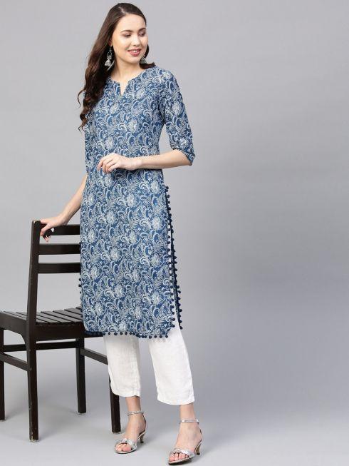 Sojanya (Since 1958) Women's Cotton Indigo & Off White Printed Straight Kurta